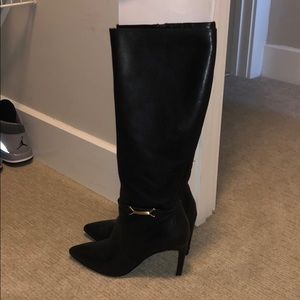 3.5 inch heel black dress boots
